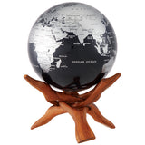 "Silver and Black Metallic MOVA Globe - 6"" Diameter"