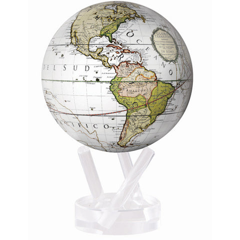 "Cassini Terrerstrial in White MOVA Globe - 4.5"" Diameter"
