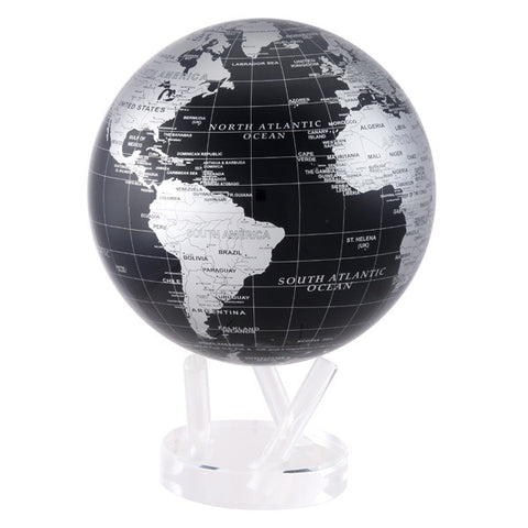 "Silver and Black Metallic MOVA Globe - 8.5"" Diameter"