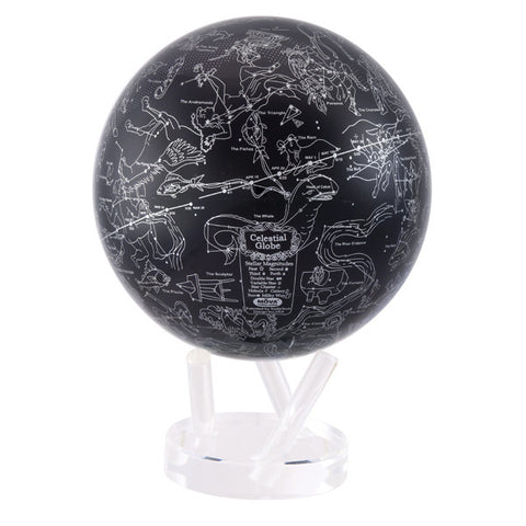 "Silver Constellations in Black MOVA Globe - 8.5"" Diameter"