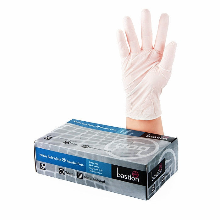 Bastion White Soft Nitrile P/F Gloves