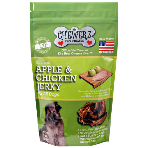 APPLE & CHICKEN JERKY DOG TREATS – Made in USA Only – All Natural – Best Treat Since Homemade