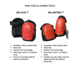 GEL SOFTEES – Save Your Knees With The Best Heavy Duty Rubber Shell Gel Knee Pads for Work & Gardening by Gamba Tools – Great For Construction, Flooring, Cleaning & Knee Replacements (Red)