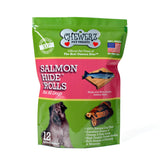 SALMONHIDE ROLLS DOG TREATS - Made in USA Only - Healthy & All Natural - Wild Alaskan Salmon Skins