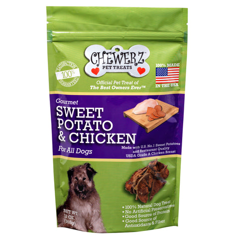 Chewerz SWEET POTATO & CHICKEN JERKY DOG TREATS - Made in USA Only -