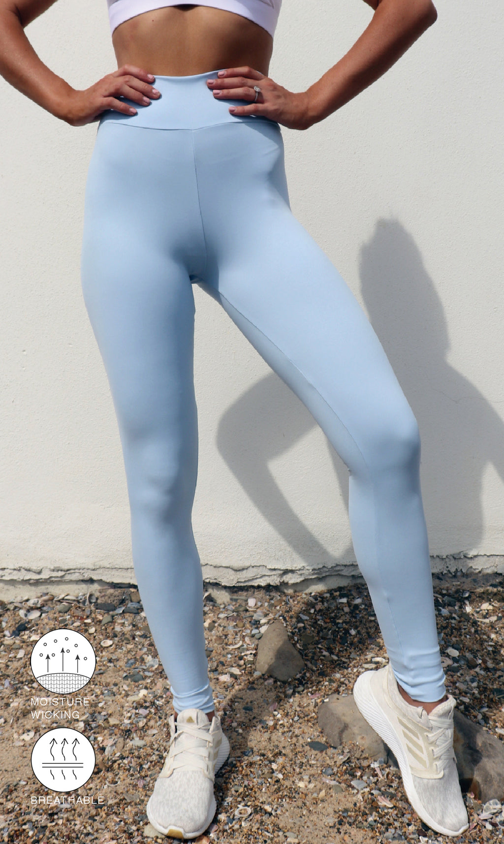 Close up: Girl in high waist, blue cloud body luxe extra long length leggings