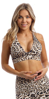 Girl in brown & white cheetah print infinity bra with cross-over back straps & matching capri leggings