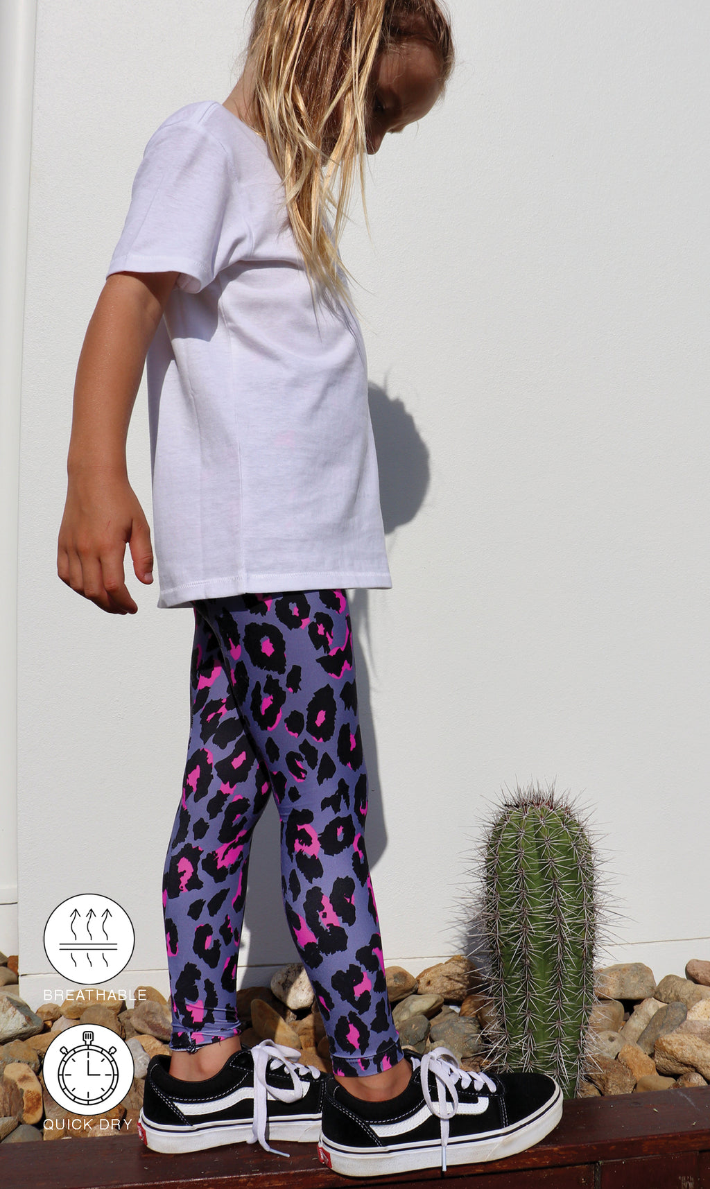 Little girl in mini me grey, black & Pink Leopard print leggings