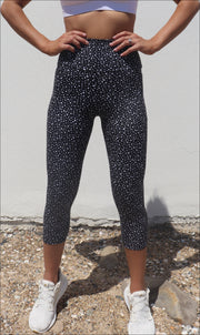 Star Dust Body Luxe Capri Leggings with Pockets