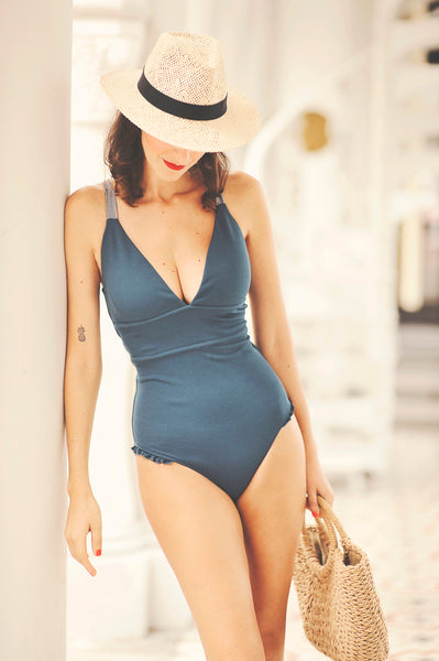 LUCIA onepiece swimsuit in BLUE TEAL - HJF - HAPPYJIGGLYFEET