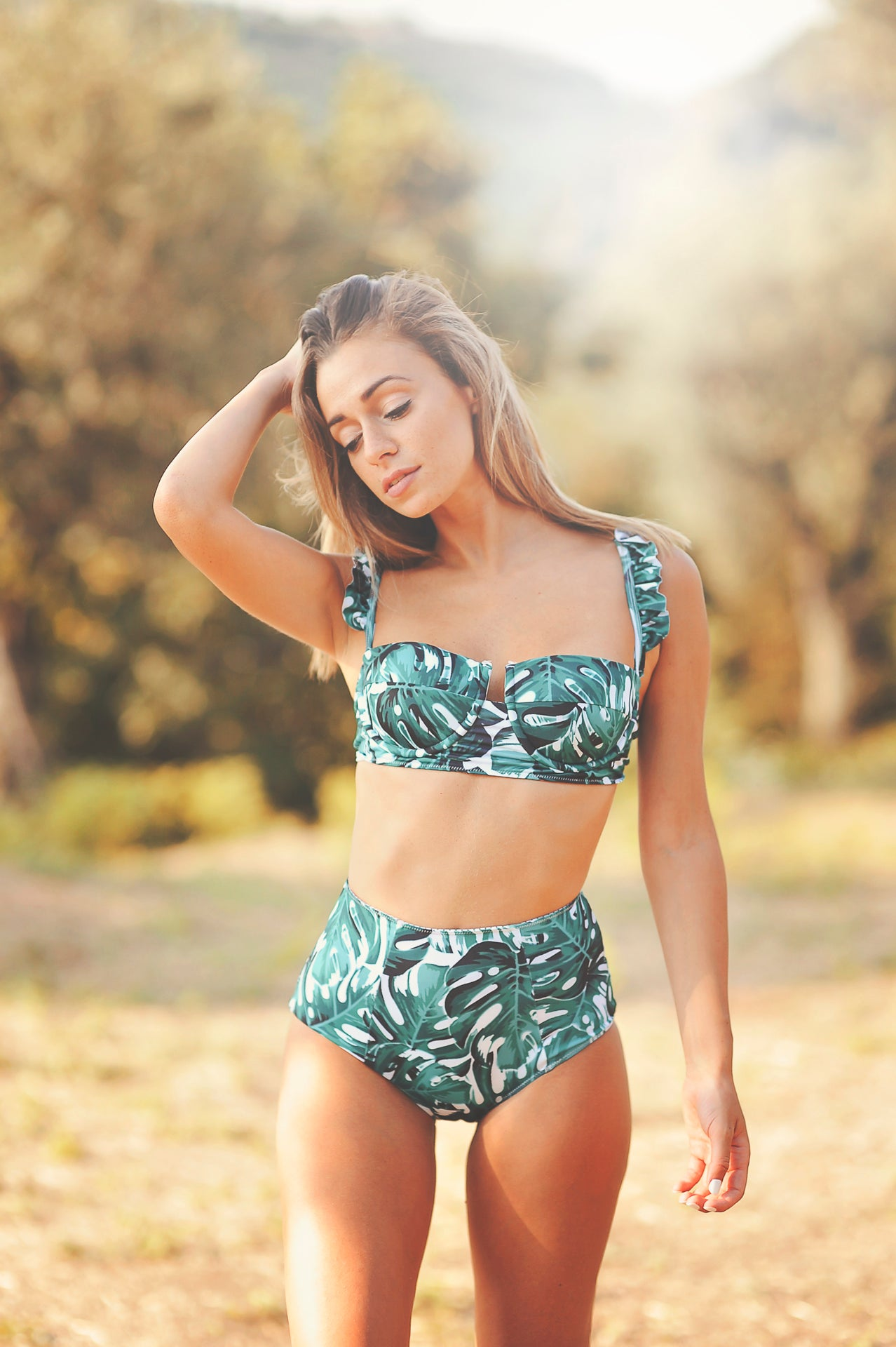UMA TROPICAL PALMS bikini top (AS IS) - HAPPYJIGGLYFEET