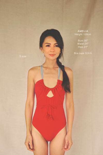 SUZY WONG onepiece swimsuit in CRIMSON RED (AS IS) - HAPPYJIGGLYFEET