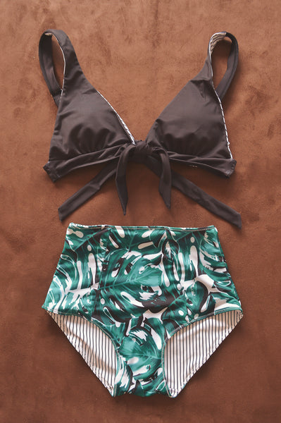 KELLY TROPICAL PALMS bikini top (AS IS) - HJF - HAPPYJIGGLYFEET