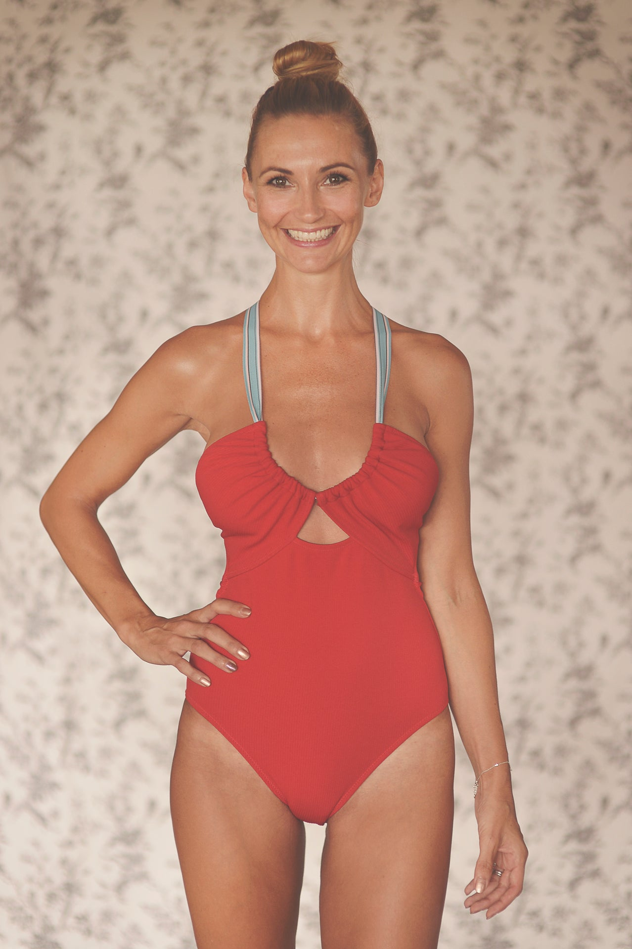 SUZY WONG onepiece swimsuit in CRIMSON RED - HJF - HAPPYJIGGLYFEET