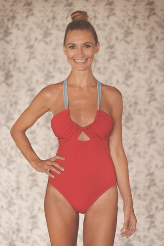 SUZY WONG onepiece swimsuit in CRIMSON RED - HAPPYJIGGLYFEET