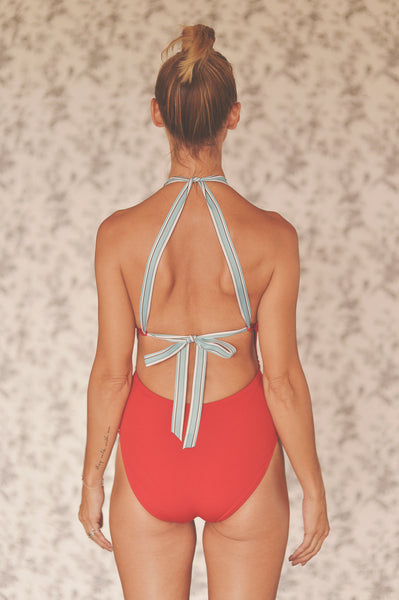 SUZY WONG onepiece swimsuit in CRIMSON RED (AS IS) - HJF - HAPPYJIGGLYFEET