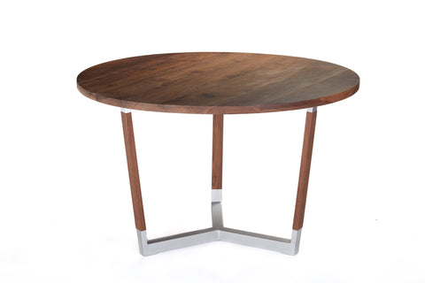 Mid Century Modern Round Dining Table - Walnut and Steel