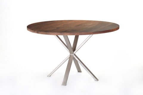Modern Industrial Round Dining Table - Walnut and Steel