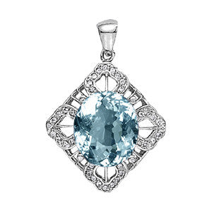Sterling Silver Aquamarine Pendant with Side Stones