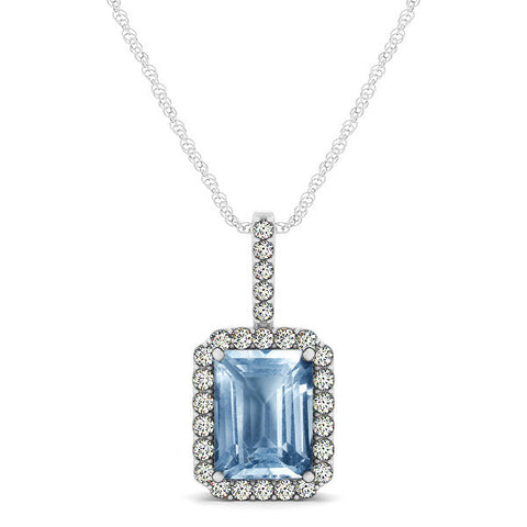 White Gold Aquamarine Pendant with Sidestones