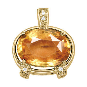 Yellow Gold Hessonite Garnet Pendant with Side Stones