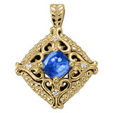 Yellow Gold Sapphire Pendant with Side Stones