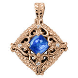 Rose Gold Sapphire Pendant with Side Stones