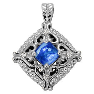 White Gold Sapphire Pendant with Side Stones