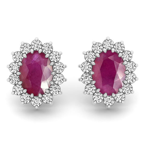Ruby Halo Earrings - 41020