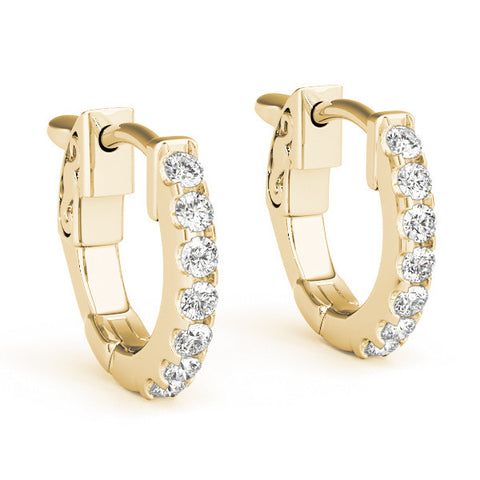 Diamond Hoop Earrings - ( 0.1 CTS) - 40977