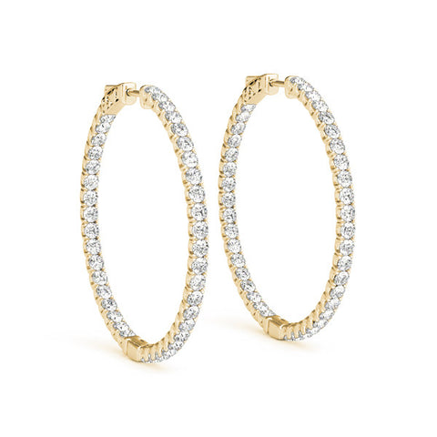 Diamond Hoop Earrings - (.33 CTS) - 41005-.0075-30MM