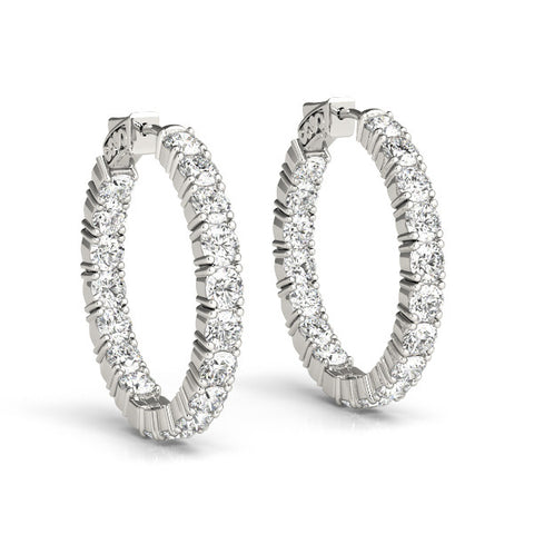 Diamond Hoop Earrings - (1.75 CTS) - 41007-.15-22MM
