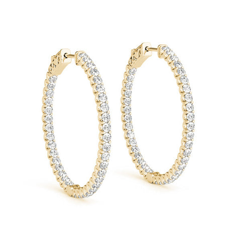Diamond Hoop Earrings - (.25 CTS) - 41017-.01-20MM