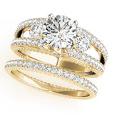Yellow Gold 3 Stone Diamond Engagement Ring