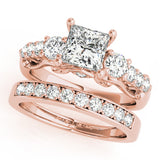 Rose Gold 3 Stone Diamond Engagement Ring