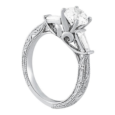 Sterling Silver 3 Stone Diamond Engagement Ring