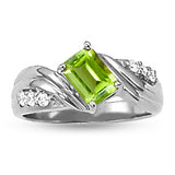 Platinum Peridot Ring with Sidestones