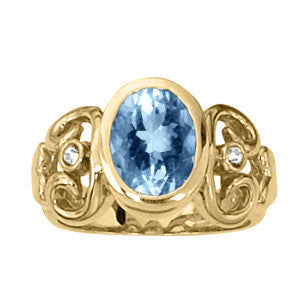 Yellow Gold Aquamarine Ring with Siderstones
