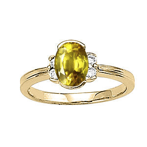 Yellow Gold Yellow Sapphire Ring with Sidestones