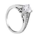Sterling Silver Antique Diamond Engagement Ring