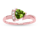Rose Gold Peridot Ring with Sidestones