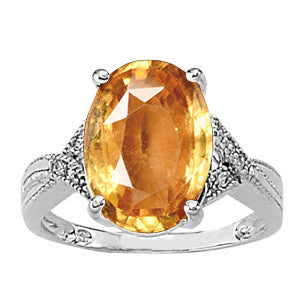 White Gold Hessonite Garnet Ring with Sidestones