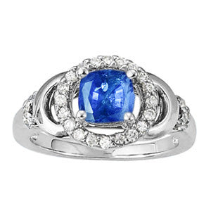Sterling Silver Sapphire Ring with Sidestones