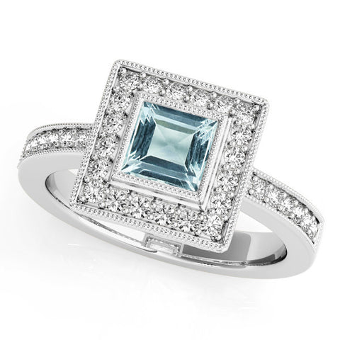 White Gold Aquamarine Engagement Ring