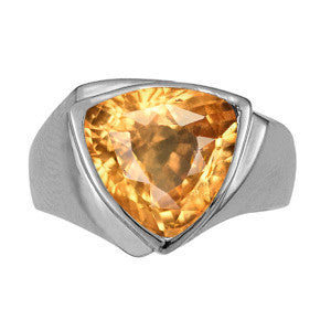 Platinum Hessonite Garnet Solitaire Ring