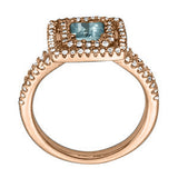 Rose Gold Aquamarine Ring with Sidestones