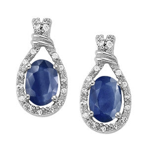 Sapphire Halo Earrings - 41020