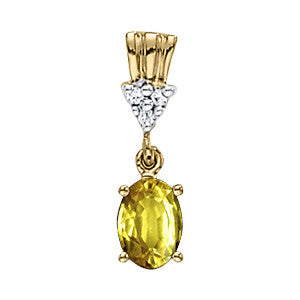 Yellow Gold Yellow Sapphire Pendant with Sidestones
