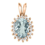 Rose Gold Aquamarine Pendant with Sidestones