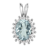 Platinum Aquamarine Pendant with Sidestones